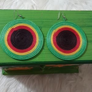 Jewelry - Handcrafted Jamaican Colors Boho Drop Earrings